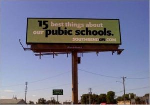 misspelled public schools sign