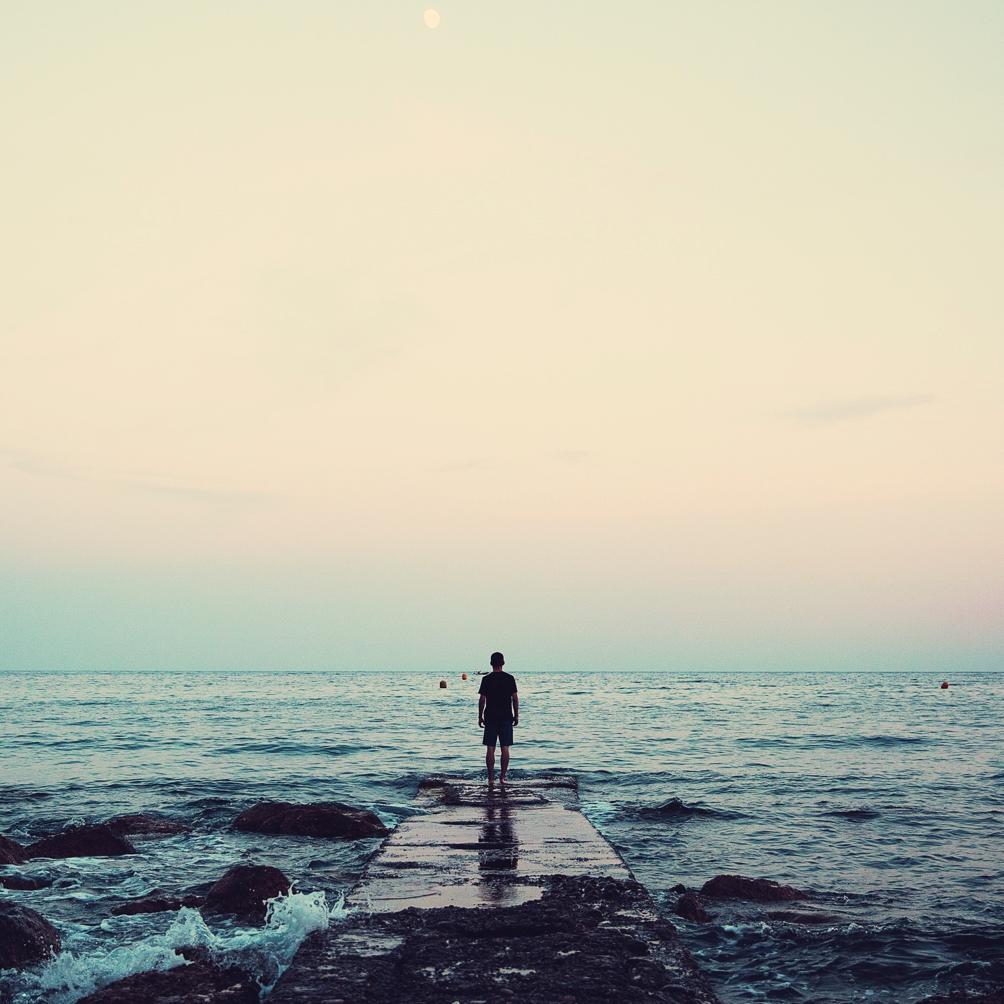 person standing on dock looking out over the sea
