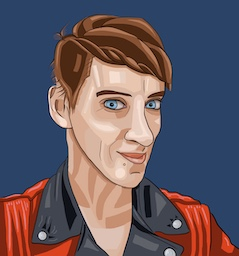 cartoon image of woman with short brown hair and blue eyes wearing a red and black jacket against a dark blue background