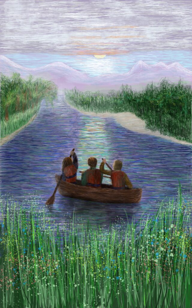 impressionistic painting of three figures in a canoe paddling down a river with mountains in the distance