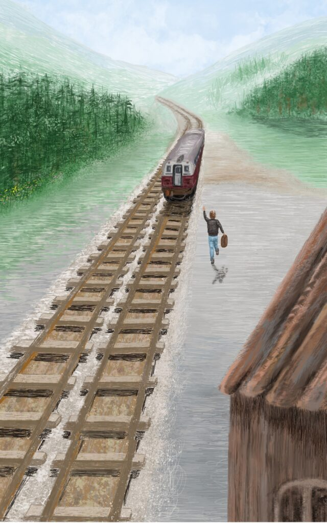 painting of man running after retreating train in the distance in a mountainous landscape